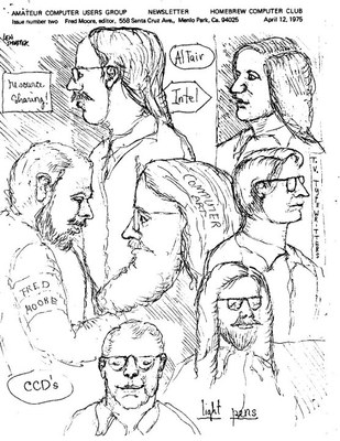 Portada del primer boletín del Homebrew Computer Club, 1974; fuente: http://www.digibarn.com/collections/newsletters/homebrew/V1_02/len-shusteks-copy.html