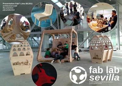 Cartel presentación del FabLab Sevilla en Lima ( Perú )
